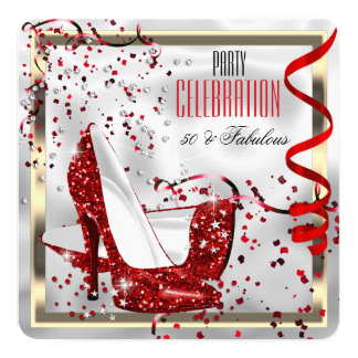 Fabulous 50 Red Black White Birthday Party Card