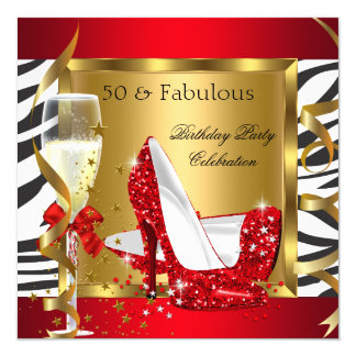 Fabulous 50 Red Glitter High Heel Zebra Champagne Card