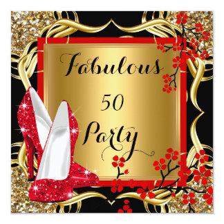 Fabulous 50 Red Heels Blossom Black Glitter Gold Card