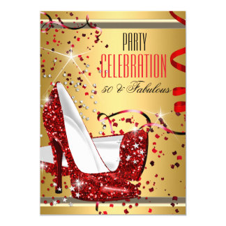 Fabulous 50 Red Heels Gold 50th Birthday Party 5x7 Paper Invitation Card