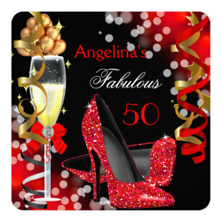 Fabulous 50 Red Heels Gold Bubbles Birthday Party 5.25x5.25 Square Paper Invitation Card