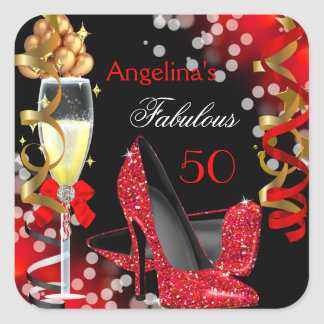 Fabulous 50 Red Heels Gold Bubbles Birthday Party Square Sticker