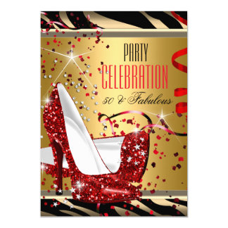 Fabulous 50 Red Heels Zebra Gold Birthday Party Card