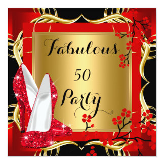 Fabulous 50 Red Hi Heels Blossom Black Gold Custom Announcement
