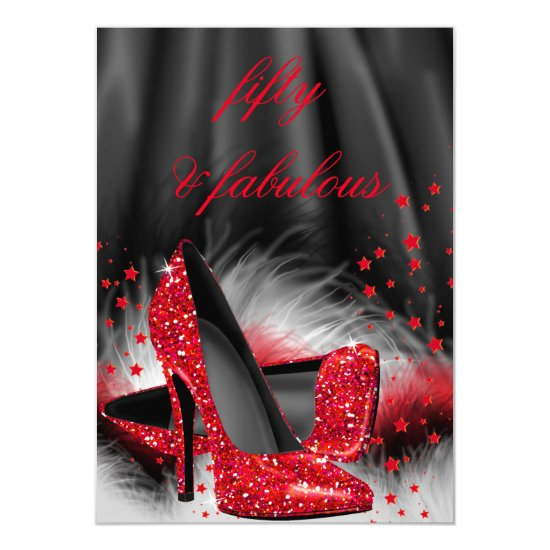 Fabulous 50 Red High Heels Black Silk Birthday Card