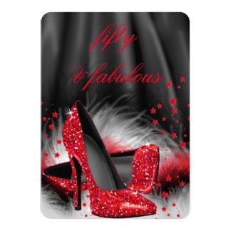 Fabulous 50 Red High Heels Black Silk Birthday Card