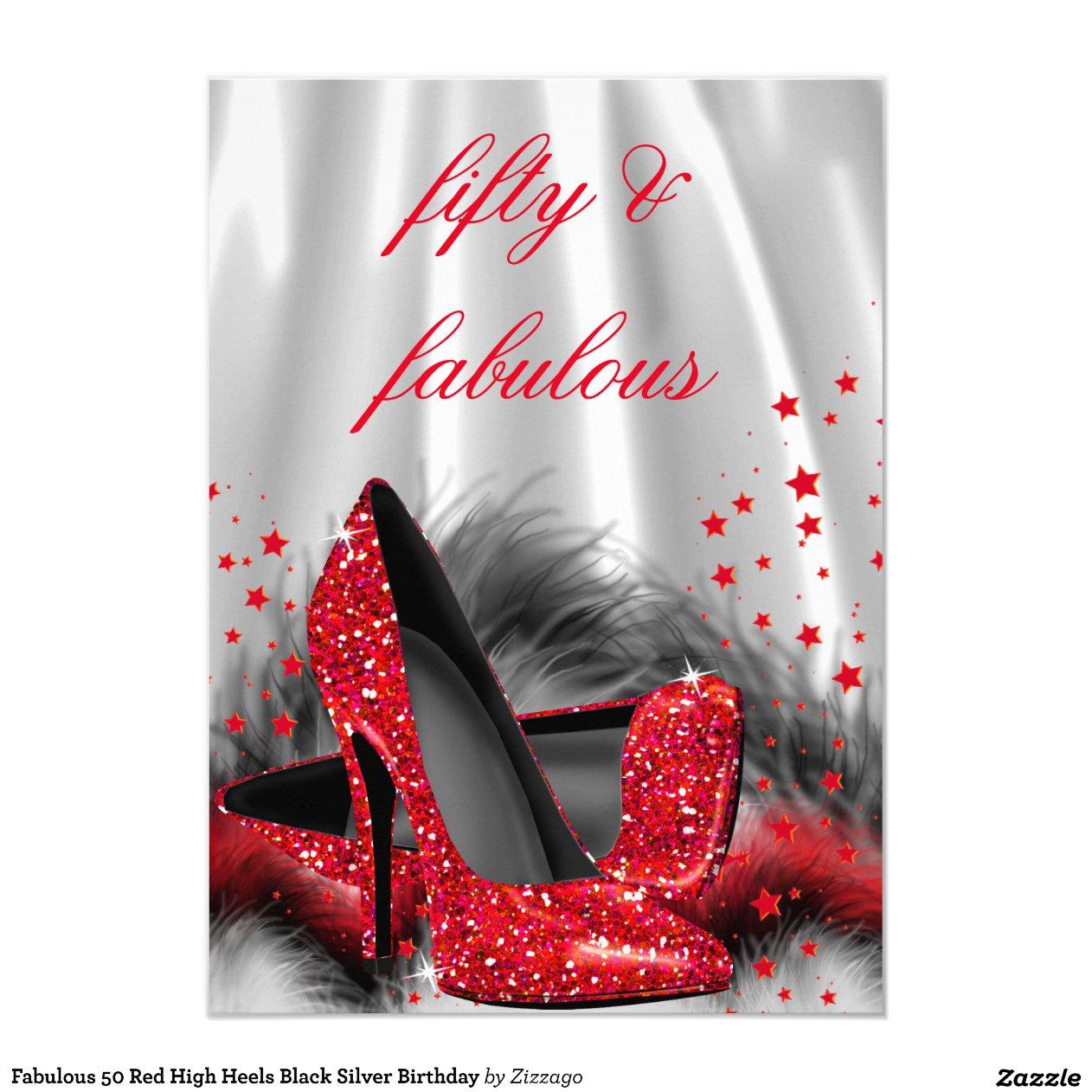 Fabulous 50 Red High Heels Black Silver Birthday 4 5x6 25