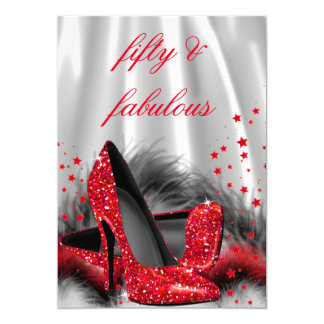 Fabulous 50 Red High Heels Black Silver Birthday 5x7 Paper Invitation Card