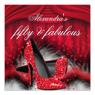 Fabulous 50 Red High Heels Feathers Birthday Card