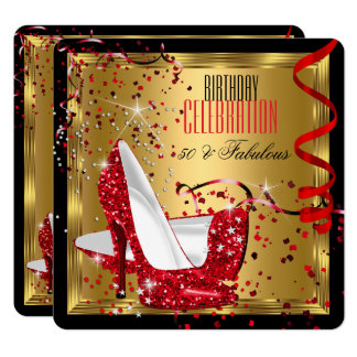 Fabulous 50 Red High Heels Gold Birthday Party Card