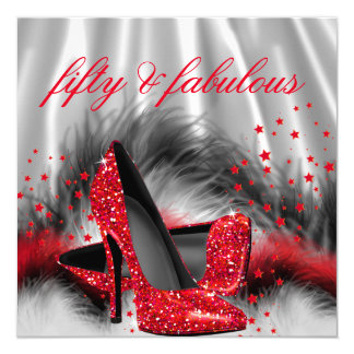 Fabulous 50 Red High Heels Silver Black Silk Party Card