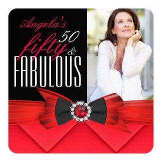 Fabulous 50 Red Jewel Photo Birthday Party Card