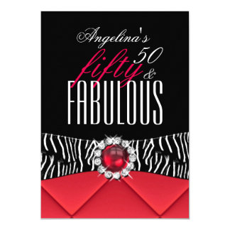 Fabulous 50 Red Zebra Black White Birthday Party 2 Card