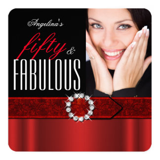 Fabulous 50 Regal Red Black Photo Birthday Party Card