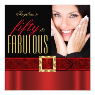 Fabulous 50 Regal Red Gold Black Photo Birthday Card