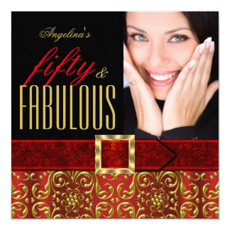 Fabulous 50 Regal Red Gold Damask Photo Birthday Card