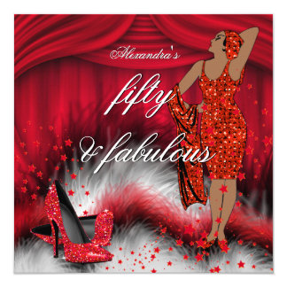 Fabulous 50 Retro Lady Red High Heels Birthday Card