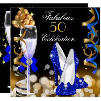 Fabulous 50 Royal Blue Black Gold Birthday Party Card