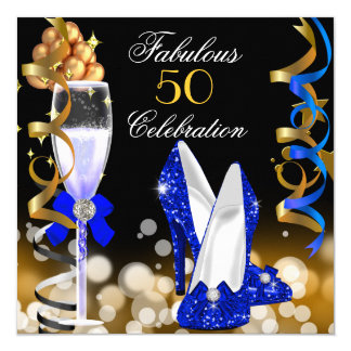 Fabulous 50 Royal Blue Black Gold Birthday Party Card
