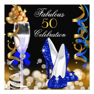 Fabulous 50 Royal Blue Black Gold Birthday Party Custom Invites