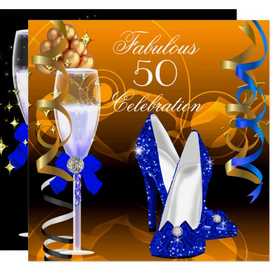 Fabulous 50 Royal Blue Gold Orange Birthday Party Invitation