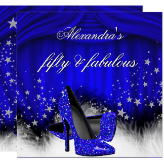 Fabulous 50 Royal Blue High Heels Feather Birthday Card