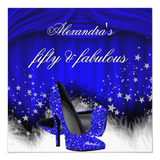 Fabulous 50 Royal Blue High Heels Feather Birthday Card