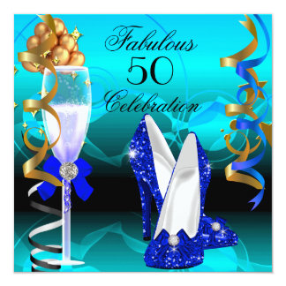 Fabulous 50 Royal Blue Teal Gold Birthday Party 5.25x5.25 Square Paper Invitation Card