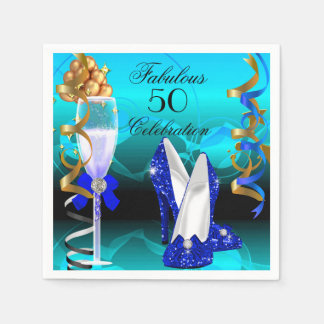 Fabulous 50 Royal Blue Teal Gold Birthday Party Paper Napkin