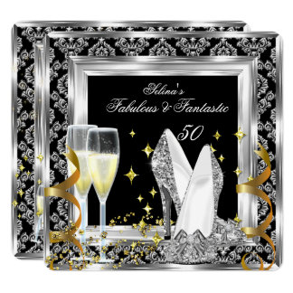Fabulous 50 Silver Damask Black Birthday Party Card