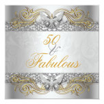 Fabulous 50 Silver Gold Butterfly Birthday Party Card