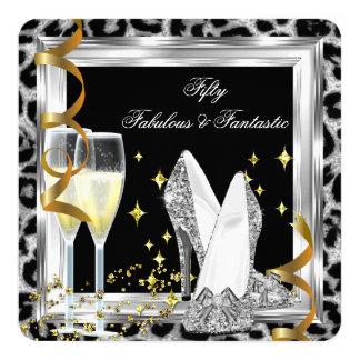 "Fabulous 50 Silver Leopard Birthday Party 5.25"" Square Invitation Card"
