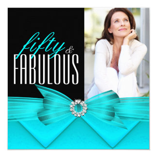 Fabulous 50 Teal Black Photo Elegant Birthday Card
