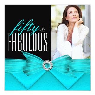 Fabulous 50 Teal Black Photo Elegant Birthday Personalized Announcements
