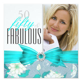 Fabulous 50 Teal Blue Floral Birthday Party 2 Card