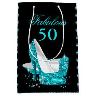 Fabulous 50 Teal Blue Glitter High Heels Medium Gift Bag
