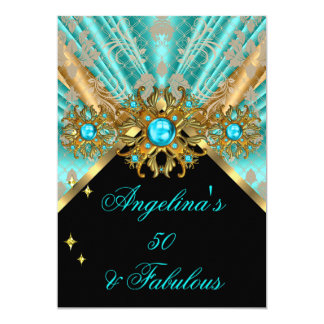 Fabulous 50 Teal Blue Gold Black Damask Birthday 2 5x7 Paper Invitation Card