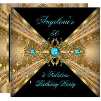 Fabulous 50 Teal Blue Gold Black Damask Birthday Card