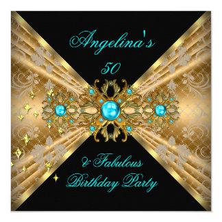 Fabulous 50 Teal Blue Gold Black Damask Birthday Card