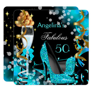Fabulous 50 Teal Blue Heels Gold Bubbles Party Card