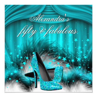 Fabulous 50 Teal Blue High Heels Feathers Birthday Card
