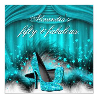Fabulous 50 Teal Blue High Heels Feathers Birthday Card