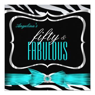 Fabulous 50 Teal Blue Zebra Black Elegant Birthday Card