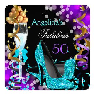 Fabulous 50 Teal Purple Heels Gold Bubbles Party Card