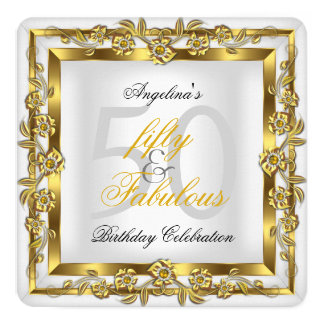 Fabulous 50 White Floral Gold Birthday Party Invitation