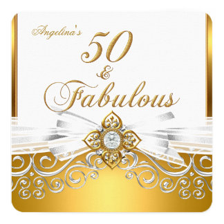 Fabulous 50 White Gold Damask Birthday Party 5.25x5.25 Square Paper Invitation Card
