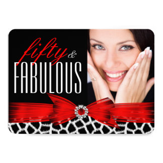 Fabulous 50 Wild Red Black Photo Birthday Party Card