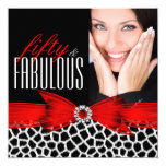 Fabulous 50 Wild Red Black Photo Birthday Party 5.25x5.25 Square Paper Invitation Card