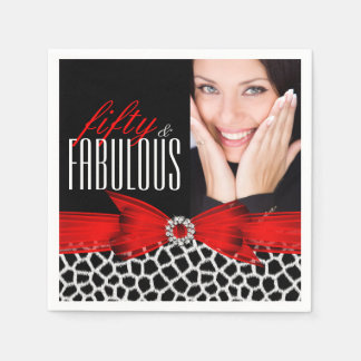 Fabulous 50 Wild Red Black Photo Birthday Party Paper Napkin