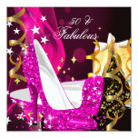 Fabulous 50 Woman's Hot Pink Gold Birthday Party Invitation